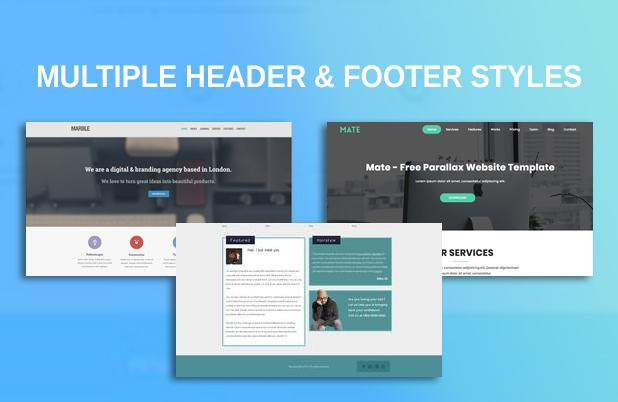 Multiple Header and Footer layouts