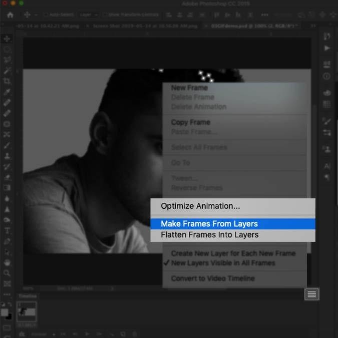 Converting layers into the frame